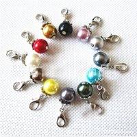 Wholesale making resin beads - 10mm Acrylic Imitation Pearl Pendant Round Beads Dangle Charms Lobster Clasp For DIY Necklace Bracelet Jewelry Making