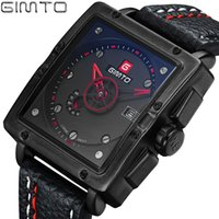 ingrosso data analogica data quadrata-X GIMTO Square Sport Mens Watch Fashion Orologio analogico al quarzo analogico Data impermeabile Orologio maschile Orologi Ore Relogio Masculino