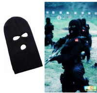 3 Hole Black Anti-terrorism Mask Knitted Face Mask Balaclava Hat Ski Army  Stocking Winter Cap Beanie Hood 5b7f88eb8b3c