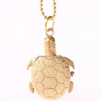 Wholesale hanging gift tags for sale - Cute little Turtle pocket watches Cartoon golden tortoise necklace watch Alloy chain hanging pocket quartz watch Kids Children s Gift