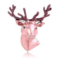 tierdeko großhandel-Wholesale-36x Weihnachtsgeschenk-Art-Deco-Tierhirsch-Rotwild-Kopf-Schwarz-Schmucksachen-Unisexbrosche stereoskopische Dollar-Kleidung