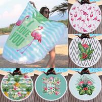 Wholesale patterned bath mats - 150cm Round Beach Towel Mat Flamingos Pattern Pad Microfiber Yoga Blanket Mat Bikini Outdoors Sports Swimming Bath Towel WX9-654