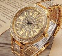 edle quarzuhr großhandel-Frauen-Luxus-Diamant eingelegtes Vorwahlknopf Uhr-Art- und Weiseeleganz-klassisches edles Weihnachtsgeschenk-Quarzgold Voller Diamantbügel Damen-Geschäftsuhr