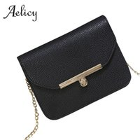 Wholesale wholesale designer hand bags - Aelicy Luxury Small Designer Chain Women Bag Women Handbag Hasp PU Leather Solid Chains Ladies Women's Purses And Hand Bags