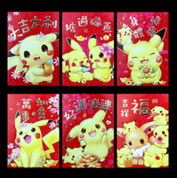 Discount chinese red envelope wholesale - 2018 Chinese New Year Red Pack Cartoon Pikachu Spring Festival Birthday Wedding Red Envelope 50 Packs 300 Pcs