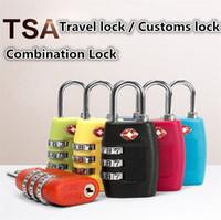 Wholesale combination travel suitcase luggage padlock lock online - New TSA Digit Code Combination Lock Resettable Customs locks Travel locks Luggage Padlock Suitcase High Security Home product I400