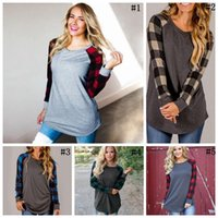 Wholesale Patchwork Blouses - Plaid Patchwork Long Sleeve Shirts Women Casual Round Neck Tops Grid Printed Blouse Round Neck Checks T-shirts 5 Colors OOA4081
