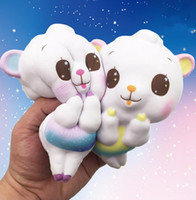 Wholesale new rainbow rose - Sheep Face Squishy Rainbow Jumbo Bread Squishy Soft Slow Rising Toys Decompression Squishies Gifts NEW design KKA3993