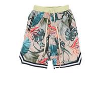 soie peinte achat en gros de-Été High Street Loose Mens Shorts 2018 Nouveau Floral Imprimé Coton Plage Shorts Justin Bieber Célèbre Strar Hip Hop Style Shorts Occasionnels