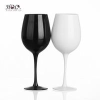 freies verschiffen gläser porzellan großhandel-Schwarz und Weiß Günstige Rotweinglas Set Becher Set für Zuhause / Barware