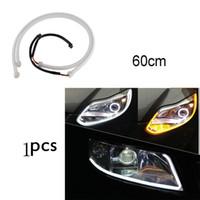 drl şeritler toptan satış-Yeni 60 CM DRL Esnek LED Tüp Şerit Gündüz Farları Dönüş Sinyali Melek Gözler Araba Styling Park Lambaları