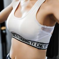 colete esportivo branco venda por atacado-Black White Carta Sutiã Esportivo Mulheres de Fitness Top Gym Bra Sutiã Ioga Sutiã Backless Malha Racerback Sports Running Vest Top Colheita