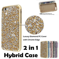 Wholesale Diamond Galaxy Case - Diamond Hybrid Case Aluminum Premium Bling 2 in 1 Luxury Glitter Case Cover Shell For Iphone X 5 6 6s 7 8 Plus Samsung Galaxy S8 Plus