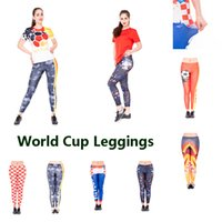 Wholesale high waist printed yoga pants for sale - World Cup Women Tights Girls Sports Leggings Russia FIFA Running Pants England Teenager Yoga Fitness Football Printed High Waist Tights