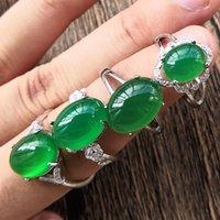 natürliche edelsteine klingelt großhandel-Natürlicher Eisesamen-grüner Chalcedon-Ring-Achat-Edelstein lebendiger Smaragdkristall-Jade-Ring für Freundin