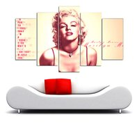 Wholesale marilyn monroe framed art - Marilyn Monroe,5 Pieces The Latest Most Popular High-definition Canvas Printed Home Decorative Art  Unframed   Framed