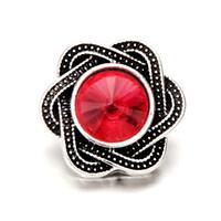 pedrería para invitaciones de boda al por mayor-Moda 18 mm corazón plana Volver Rhinestone Charm Button Crystal para DIY Snaps pulsera joyería boda invitación para mujer pelo accesorio de la flor