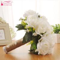 bouquets de mariée en porcelaine achat en gros de-Bouquet De Mariage Romantique Avec Ruban Artificielle Blanc Accessoires De Mariée Fleurs Décorations De Mariage Accessoires Pas Cher ZHB018 Chine
