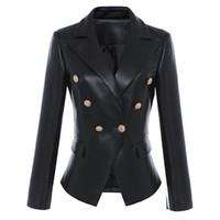 Wholesale black metal jacket - Wholesale-HIGH STREET Newest Baroque Fashion 2018 Designer Blazer Jacket Women's Lion Metal Buttons Faux Leather Blazer Outer Coat