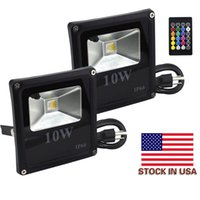 Wholesale dimmable floodlight - Stock In US + 10W RGB LED Flood Lights, Outdoor Color Changing Floodlight With Remote Control, IP66 Waterproof 16 Colors 4 Modes Dimmable