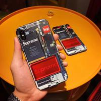 ingrosso componenti della batteria-Fashion Brand Cellphone Struttura del componente interno Modello Cover posteriore Batteria Backplane Custodia morbida Scheda madre Shell Tide per iPhone