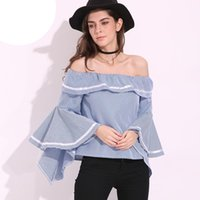 Wholesale womens lace tops blouses - 2018 Hot Womens Slash Neck Butterfly Sleeve Club Tops Flouncing Ruffled Off Shoulder Casual Party Shirt Blouse S-5XL