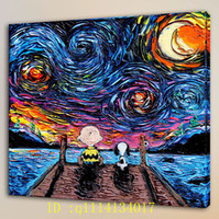 braune wandtafel kunst großhandel-Van Gogh Charlie Brown Snoopy, HD Leinwand Wandkunst Ölgemälde Wohnkultur / (ungerahmt / gerahmt)