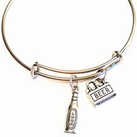 Wholesale beer charm silver - 12pcs lot Beer Bracelet Wine bangles Beer Charm Wine Jewelry Charm