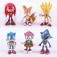Wholesale plastic dr - 6pcs set 7cm Sonic the Hedgehog Boom Rare Dr Eggman Shadow action Figures Toy pvc toy Sonic Shadow Tails Characters figure toy B