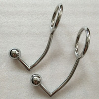 Wholesale cock ring stainless steel butt plug for sale - Men Anal Hook with Penis Ring Stainless Steel Anus Plug Metal Ass Stopper and Cock Ring Butt Plug Backyard Beads Gays Sex Toy