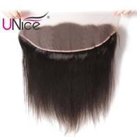 fermetures de soie achat en gros de-UNice cheveux oreille à oreille péruvienne droite dentelle frontale 13