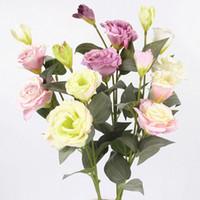 feuilles de fleurs de soie feuilles achat en gros de-Artificielle 3 Têtes Bouquet Soie Fleur Bouquets Daisy Fleur De Soie Faux Fleurs Feuilles Pour La Maison Jardin Partie Décor Flores