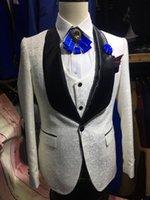 ingrosso immagini di uomini prom-Nuovi disegni di arrivo immagine reale Tuta da uomo Slim Fit 3 pezzi smoking Prom Abiti personalizzati Groom Blazer Terno Masculino Jacket + Pant + Vest 2018