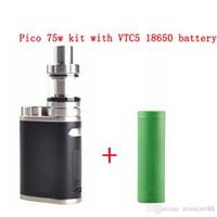 Hot Selling Pico 75w starter kits e cigarettes vape box mod 2ml Melo 3 Mini Tank 5 Colors e liquid vaporizer vapes pen