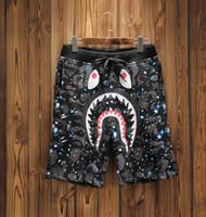 ingrosso stelle squali-2018 new summer stelle europee e americane, cielo notturno I FEEL LIKE SHARK shorts, pantaloni da spiaggia in cotone e pantaloni.