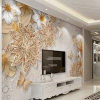 ingrosso carta da parati dorata di lusso-Carta da parati personalizzata murale per pareti camera da letto 3D lusso gioielli in oro fiore farfalla sfondo carte da parati Home Decor Living Room