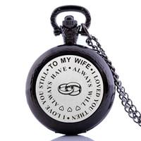 ingrosso la tasca delle donne antiche ha guardato-Creativo Antique Vintage Medium Size To My Wife Womens Quartz Pocket Watch Collana catena pendente regalo analogico relogio masculino