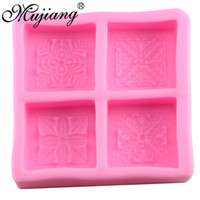 Wholesale Silicone Leaf Mold - 4 Cavity Leaf Square Soap Silicone Fondant Molds Cake Decorating Tools Fimo Clay Candle Mold Chocolate Gumpaste Moulds