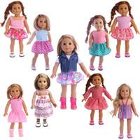 amerikanische mädchenpuppe 18 zoll großhandel-Nette 9 Arten 18 Zoll American Girl Puppe Babypuppe Kleidung Zubehör das beste Weihnachtsgeschenk für Kinder Mädchen Kleider gesetzt