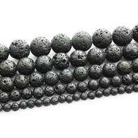 cuentas redondas de 12 mm. al por mayor-Granos sueltos de piedra redonda volcánica de lava negra 16