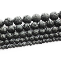 boncuklar mm siyah toptan satış-Siyah Lava Volkanik Yuvarlak Taş Gevşek Boncuk 16