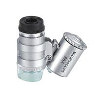 lente lupa al por mayor-Mini 60X Microscopio LED Lupa Detector de Moneda UV Lupa portátil Lupa Lente de ojo con luz LED
