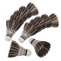 gänsefeder badminton großhandel-JHO-12x Ausbildung Black Goose Federbälle Birdies Badminton Bälle