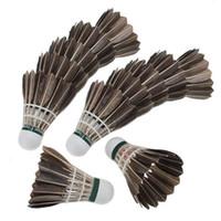 kaz tüyü badminton toptan satış-JHO-12x Eğitim Siyah Kaz Tüy Shuttlecocks Birdies Badminton Topları