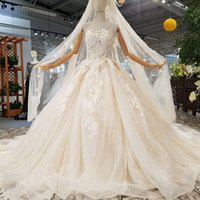 Wholesale petals veil resale online - Champagne Strapless Wedding Dresses With Wedding Veil Sleeveless Petal Flowers Strapless Wedding Gowns With Train For Sexy Bride