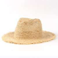 d0e1827f241 100% Raffia Straw Summer Women Travel Beach Sun Hat For Elegant Lady Fedora  Floppy Wide Brim Panama Sunbonnet