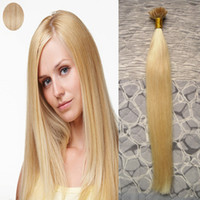 Wholesale u tip 22 613 online - 613 Blonde Brazilian Hair Straight U Tip Hair Extension Keratine g keratin stick tip human hair extensions