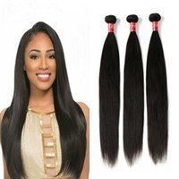hair color end weave Canada - 8A Brazilian Virgin Remy Hair Extensions Silk Straight 3 Bundles 100% Human Hair Weave 8-28 Inches 100g Piece Natural Color Healthy End