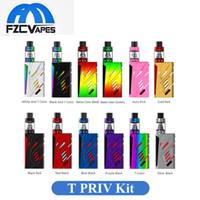 Wholesale T Lcd - Authentic SMOK T-Priv 220W Full Kit 12 Colors Advanced Vape Kit with LED Light Top Lcd Display 100% Original SMOKTECH Starter Kit