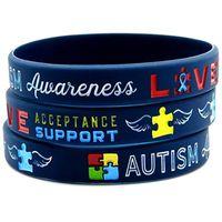 regenbogen-armbänder großhandel-1pc medizinische alarm Autism Awareness RAINBOW silikon racelet armband versand